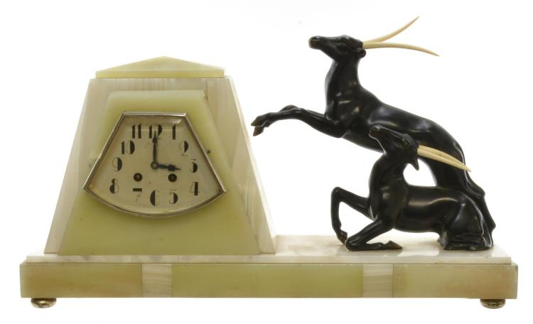 Art Deco French Gazelle Onyx Clock