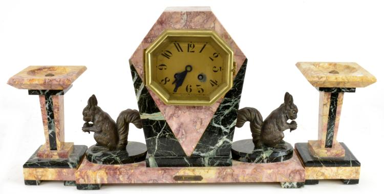 Art Deco French LES Ecureuils Onyx Clock Garniture Set