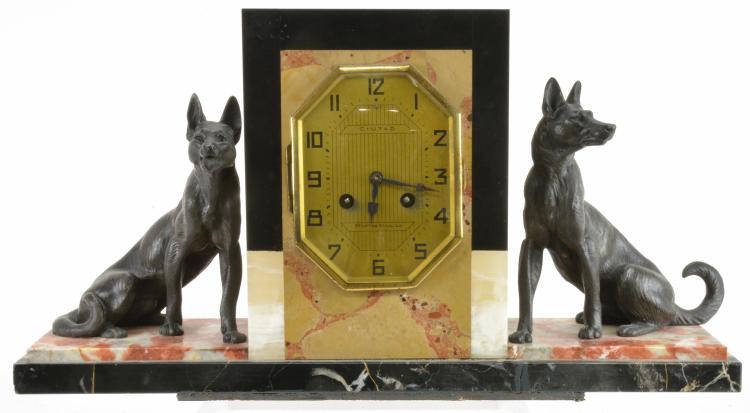 Art Deco French German Shepherd Onyx Clock