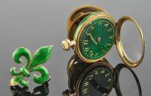 14K Gold French Enamel Blair & Crawford Pendant Ladies Watch