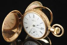 14K Gold Elgin Men's Double Hunters Pocket Watch