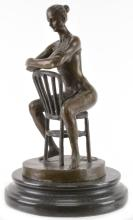 Aldo Vitaleh Bronze Sculpture Woman And Chair
