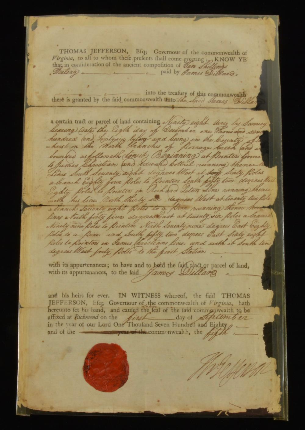 Thomas Jefferson Signed 1780 Land Grant