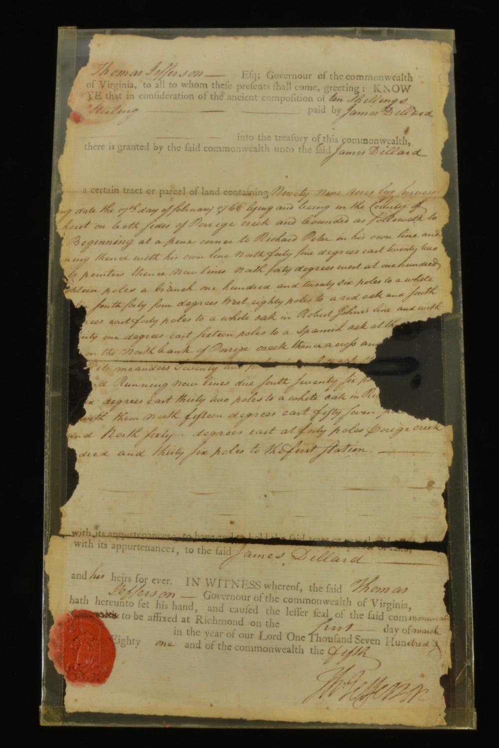Thomas Jefferson Signed 1781 Land Grant