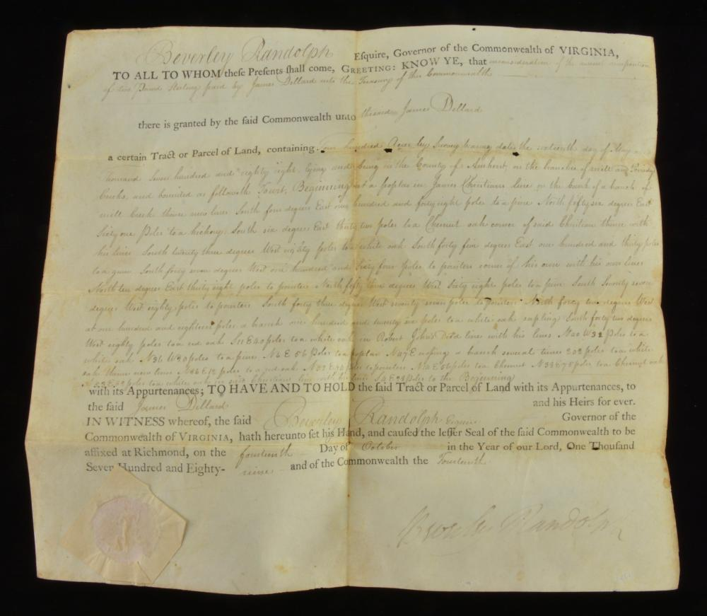 Governor Beverly Randolph Va. Signed 1789 Land Grant