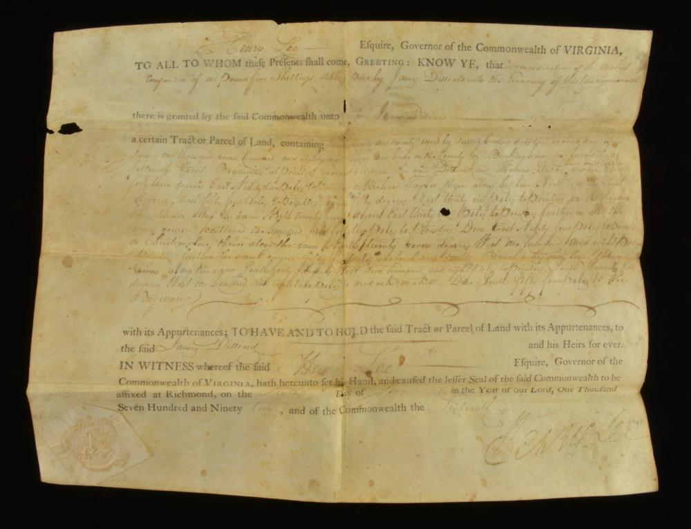 Governor Henry Lee Va. Signed 1792 Land Grant