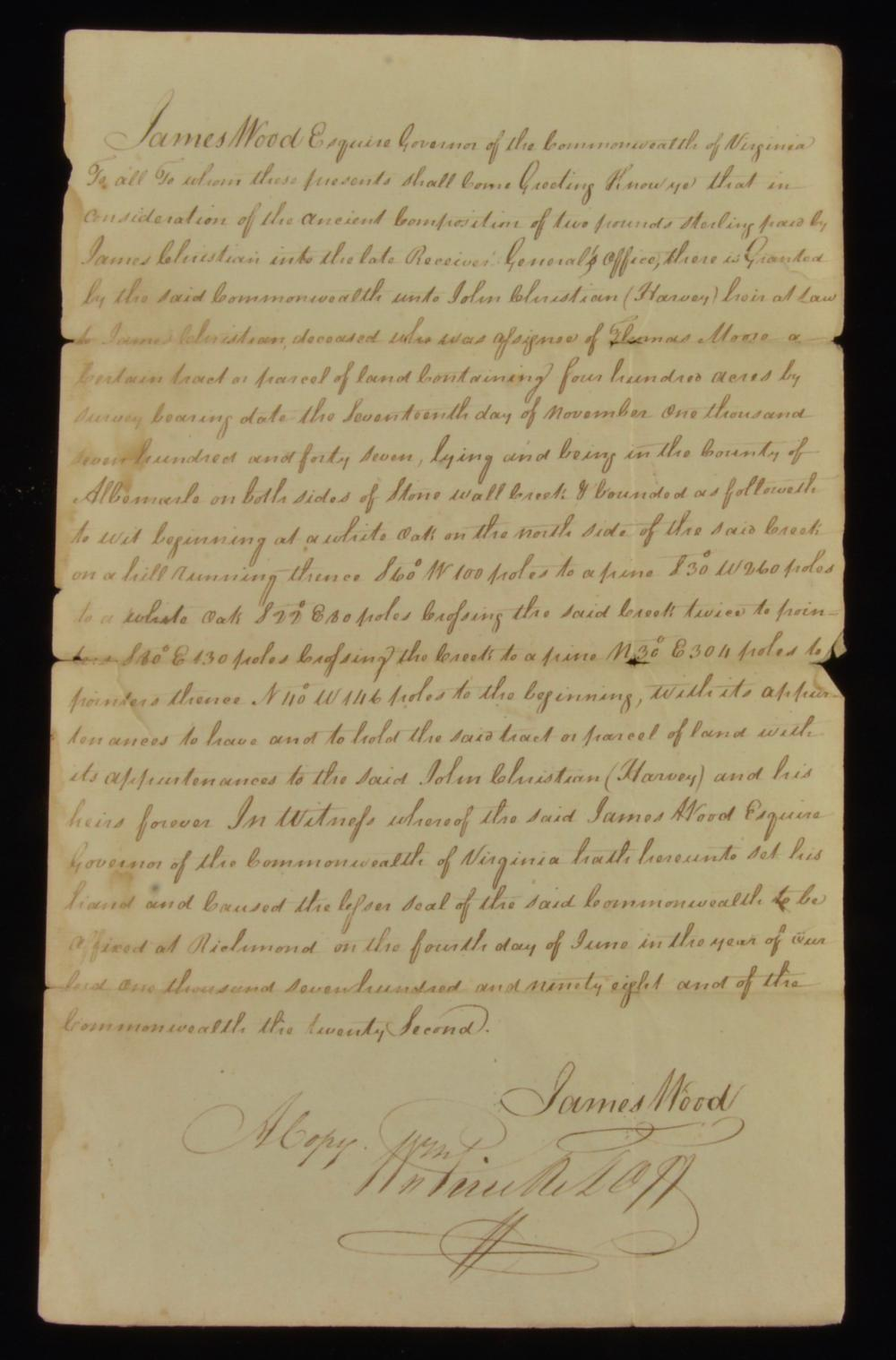 Governor James Wood Va. Signed 1798 Land Grant