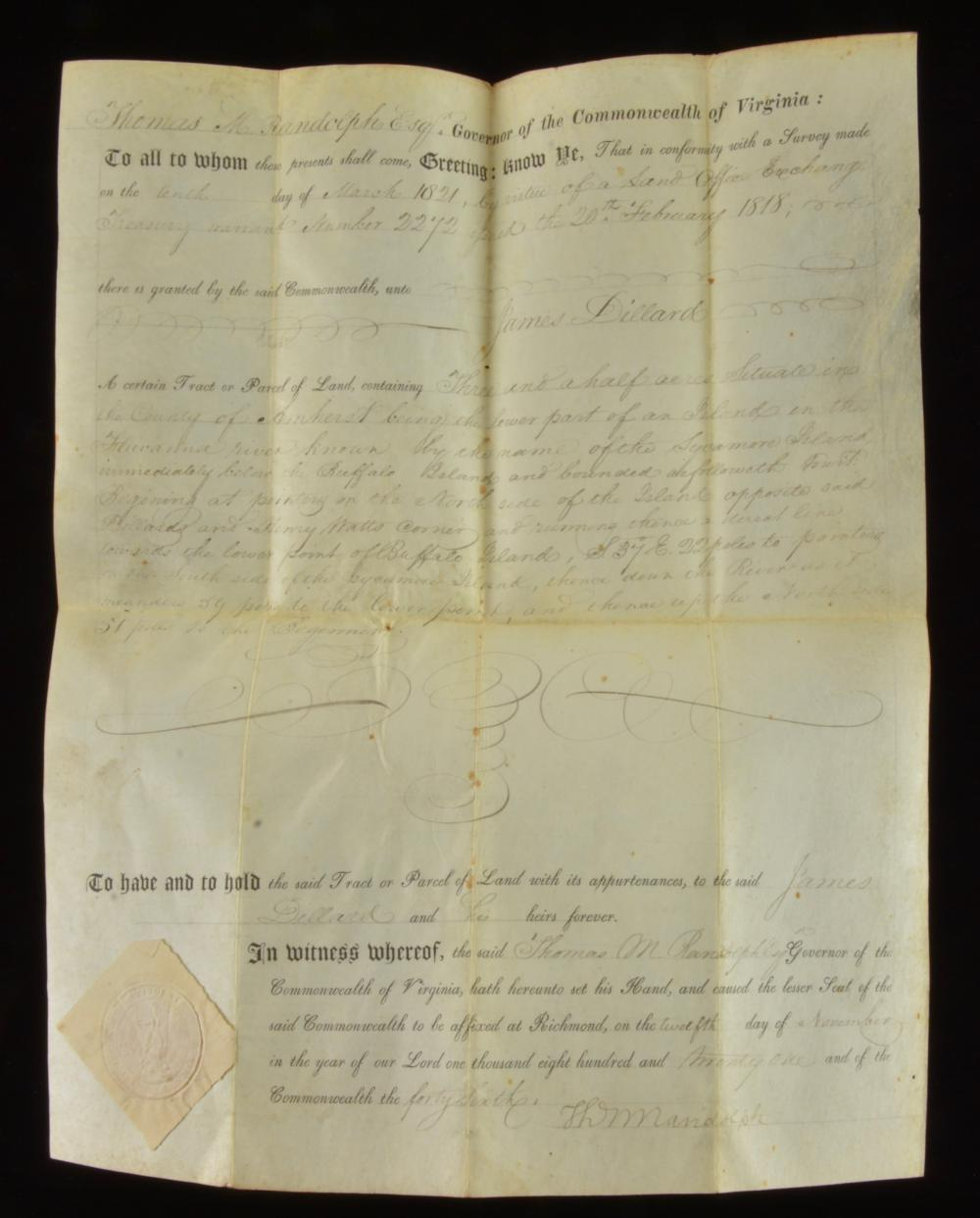 Governor Thomas M. Randolph Va. Signed 1821 Land Grant
