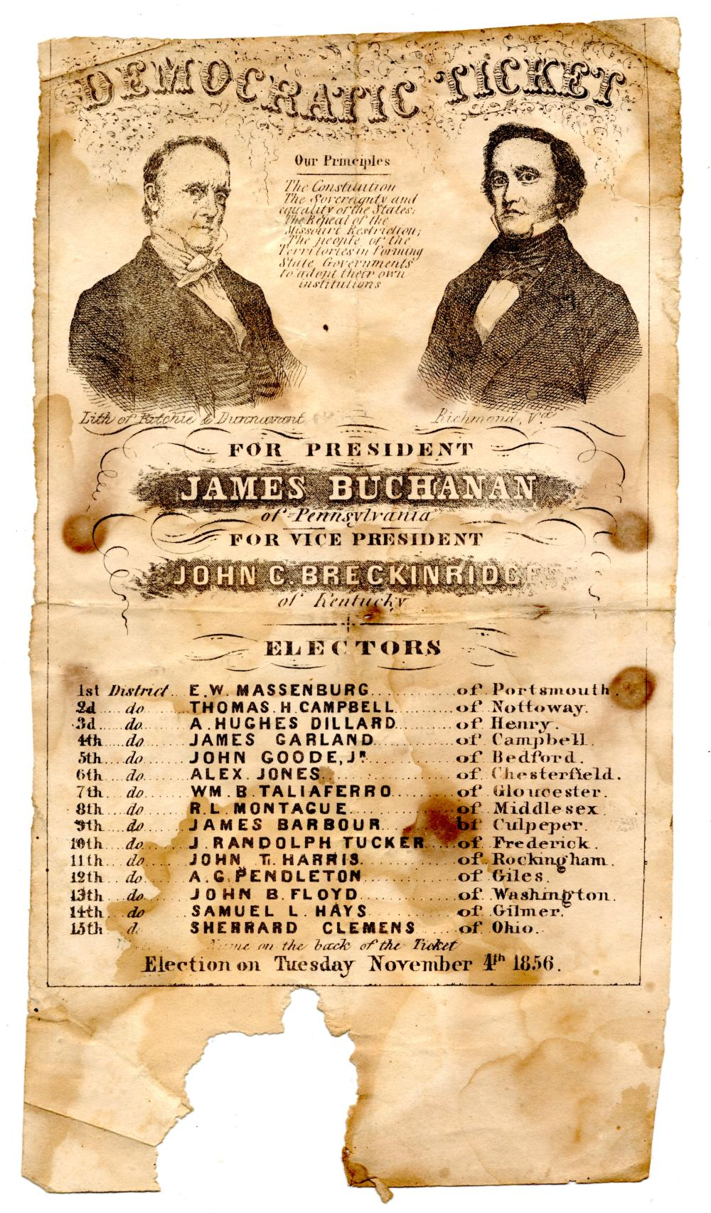 1856 For President James Buchanan Democratic Ticket