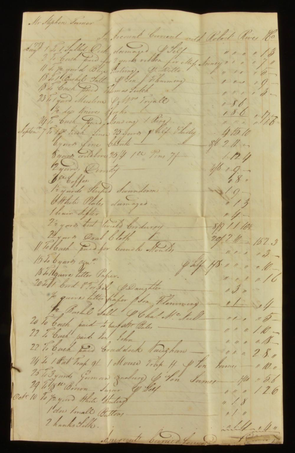 Stephen Turner With Robert Rives Co. Va. 1798 Business Account