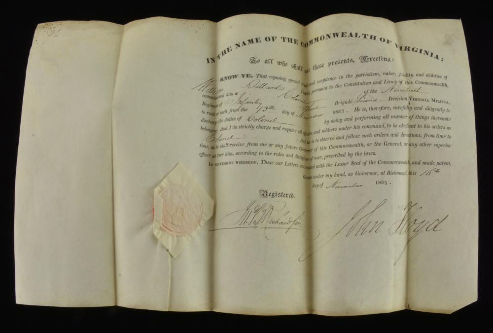 Commission Colonel William Dillard Virginia Militia Signed John Floyd