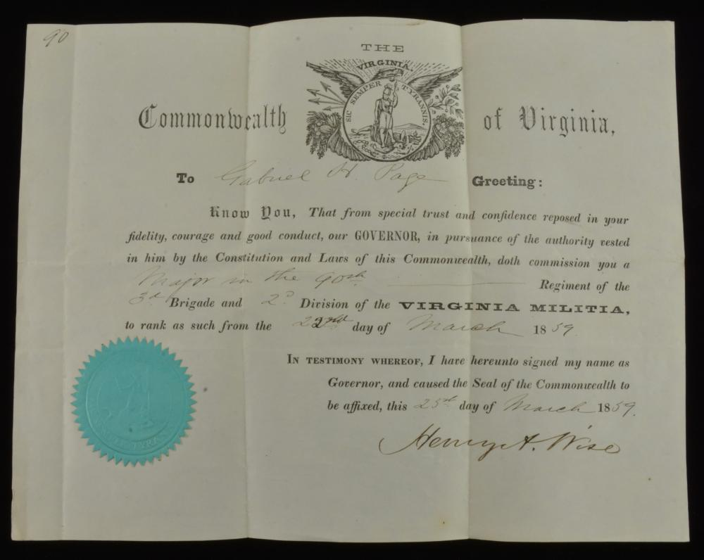 Virginia Militia Gabriel H. Page Commission Signed Henry A. Wise