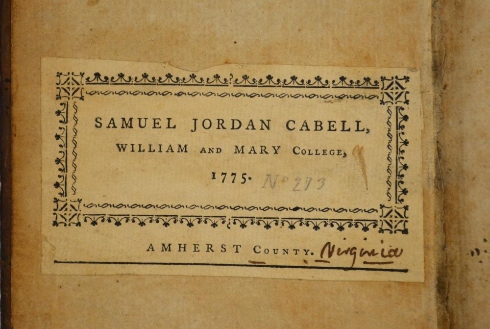 Samuel Jordan Cabell 1775 William And Mary College Va. Swift's Works