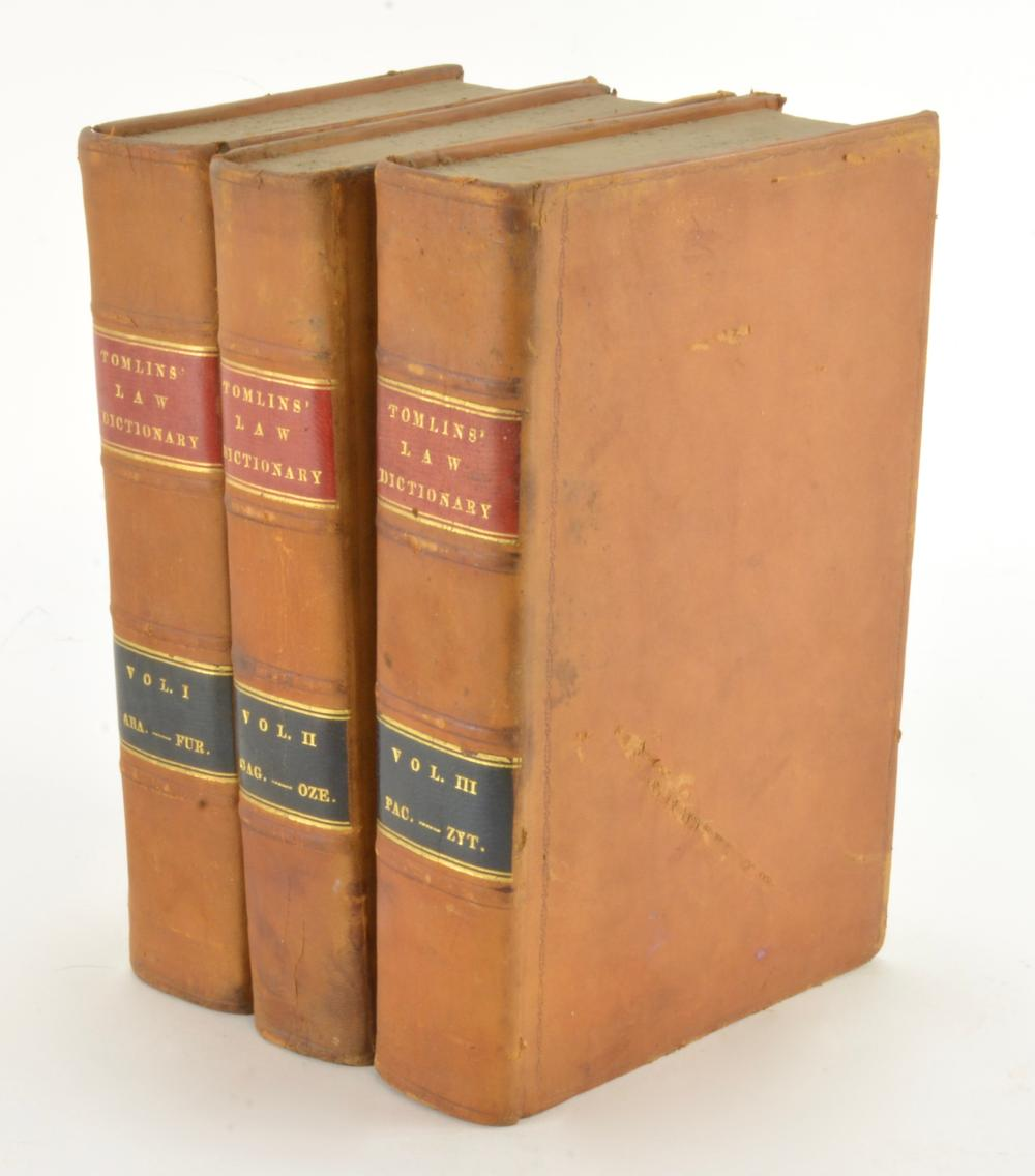 The Law Dictionary By Sir Thomas Edlyne Tomlins 1836 First American Ed