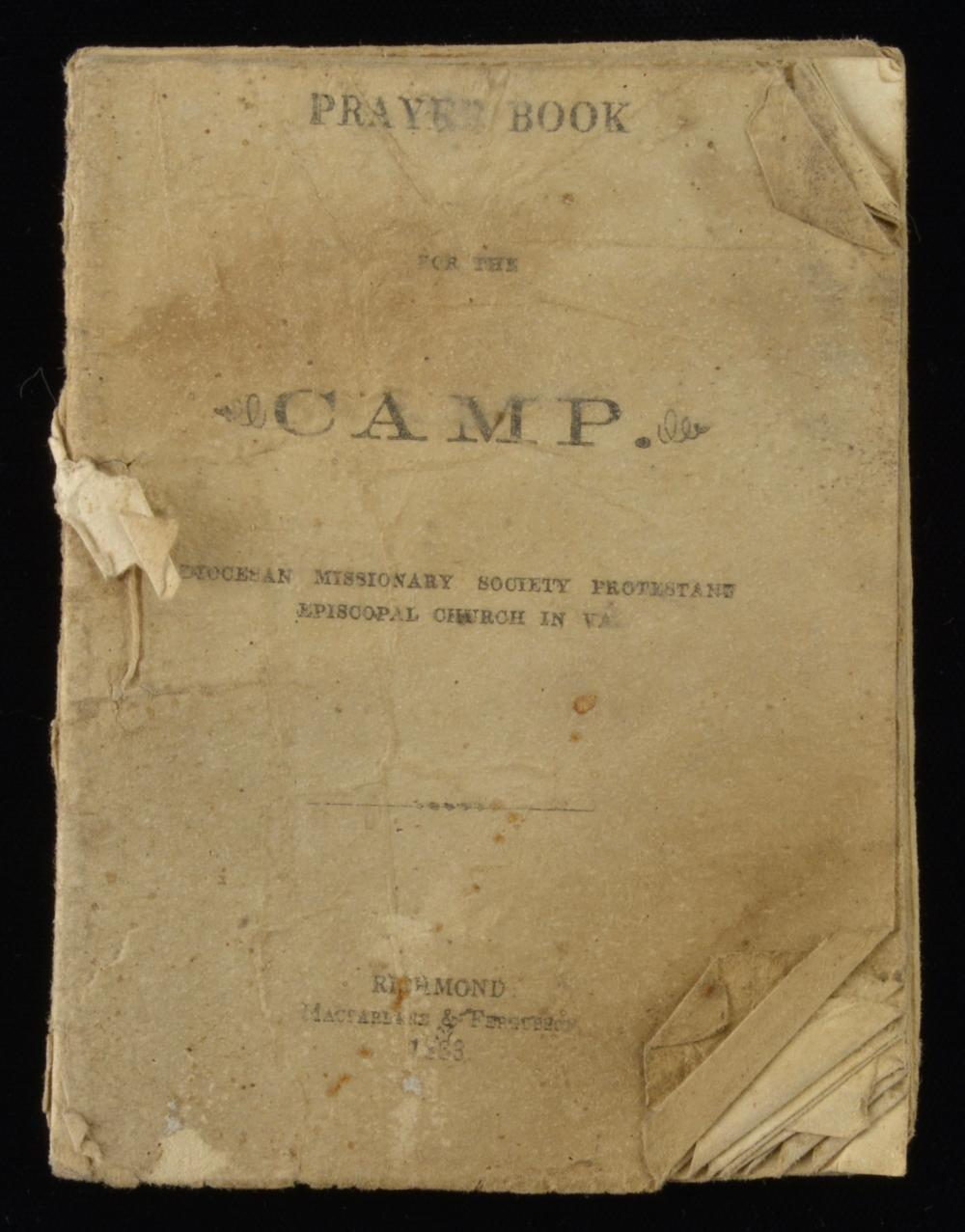Rare C.S.A. Prayer Book For The Camp Richmond 1863
