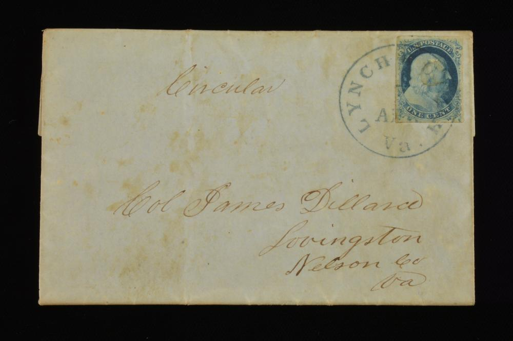 1851 One Cent Franklin Stamp Lynchburg Va. Dillard Family Cover