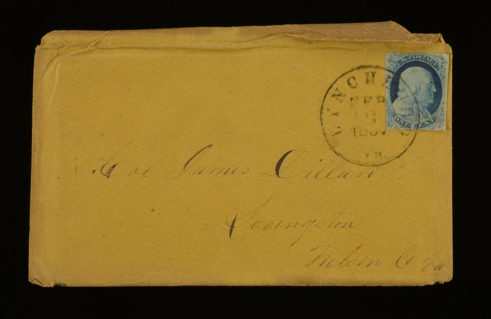 1857 One Cent Franklin Stamp Lynchburg Va. Dillard Family Cover