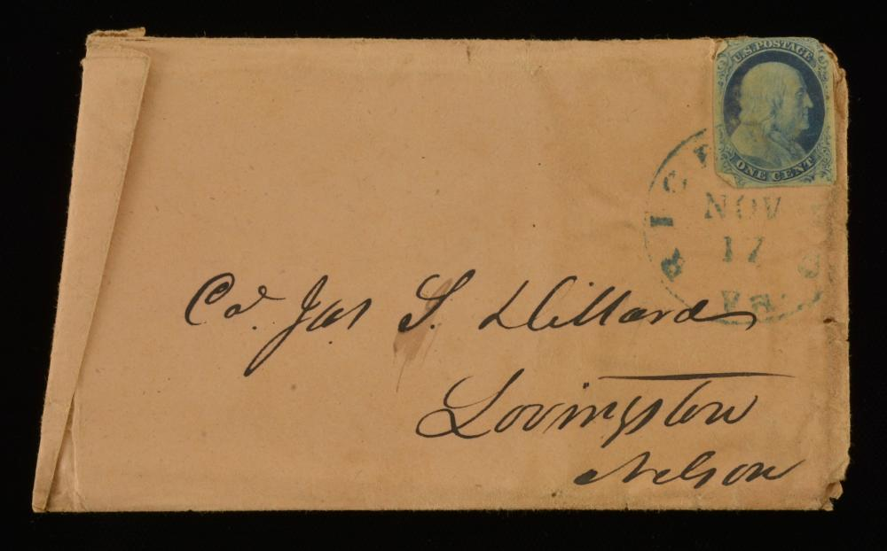 1854 One Cent Franklin Stamp Richmond Va. Dillard Family Cover