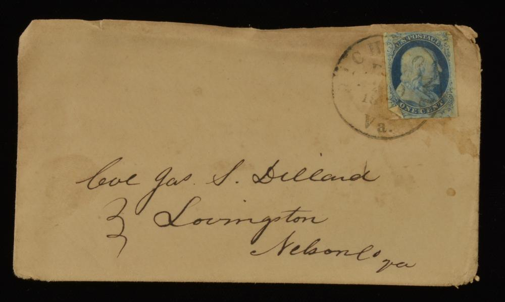 1850s One Cent Franklin Stamp Richmond Va. Dillard Family Cover