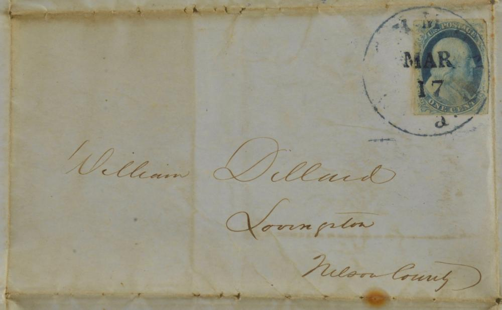 1852 One Cent Franklin Stamp Richmond Va. Dillard Family Cover