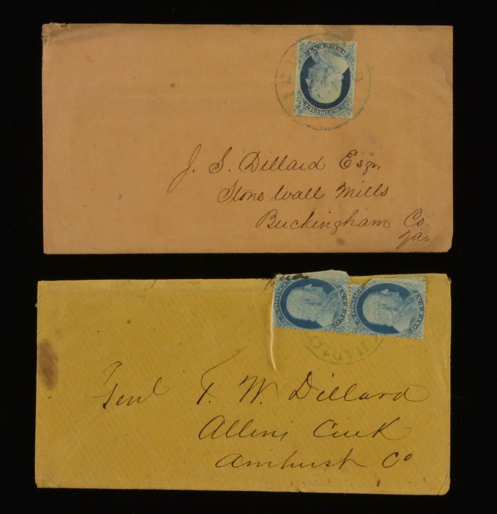 1850s One Cent Franklin Stamp Charlottesville Va. Dillard Family Covers