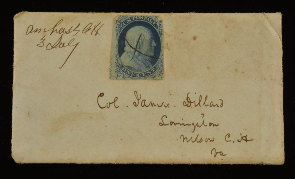 1850s One Cent Franklin Stamp Amherst Co.Va. Dillard Family Cover
