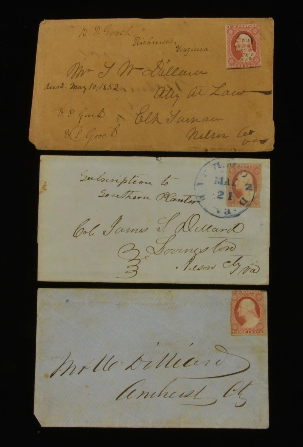 1850s Three Cent Washington Stamp Richmond Va. Dillard Family Covers