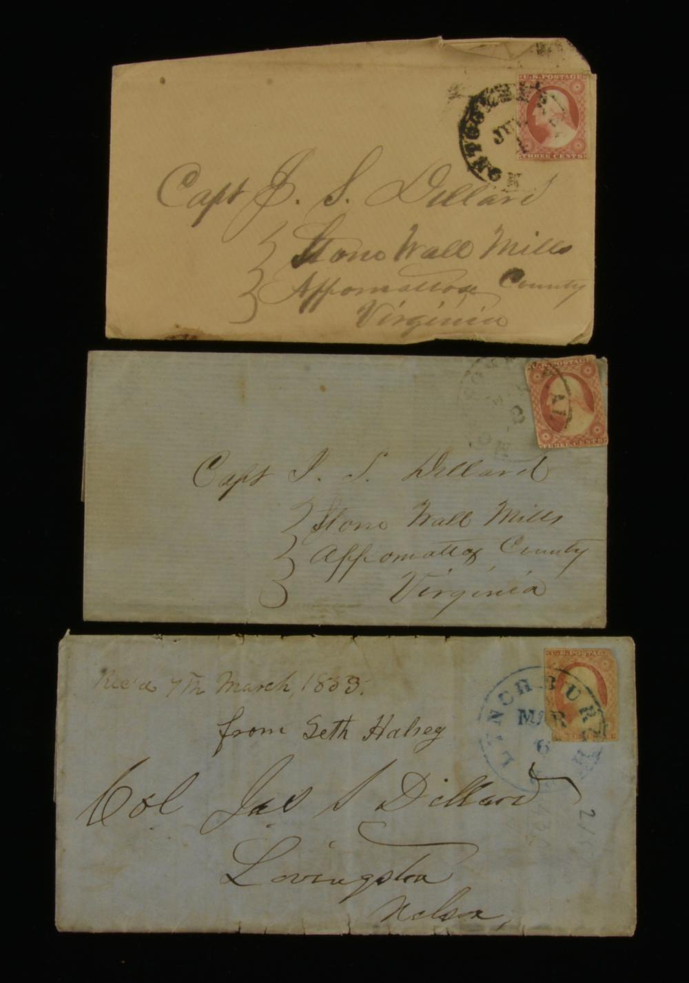 1850s Three Cent Washington Stamp Virginia Dillard Family Covers