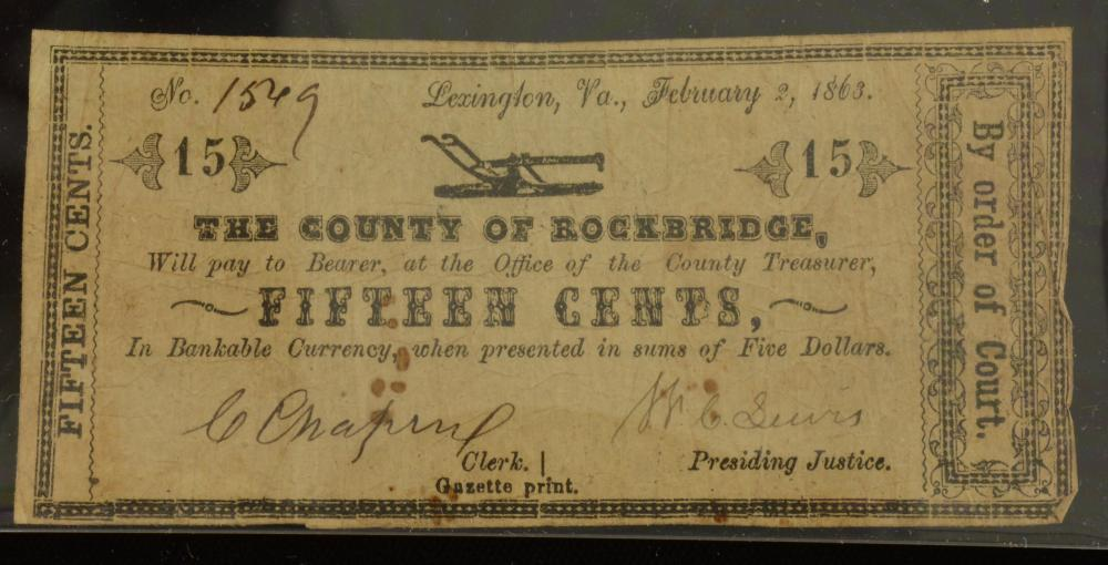 1863 Lexington Va. County Of Rockbridge 15 Cent Currency Note