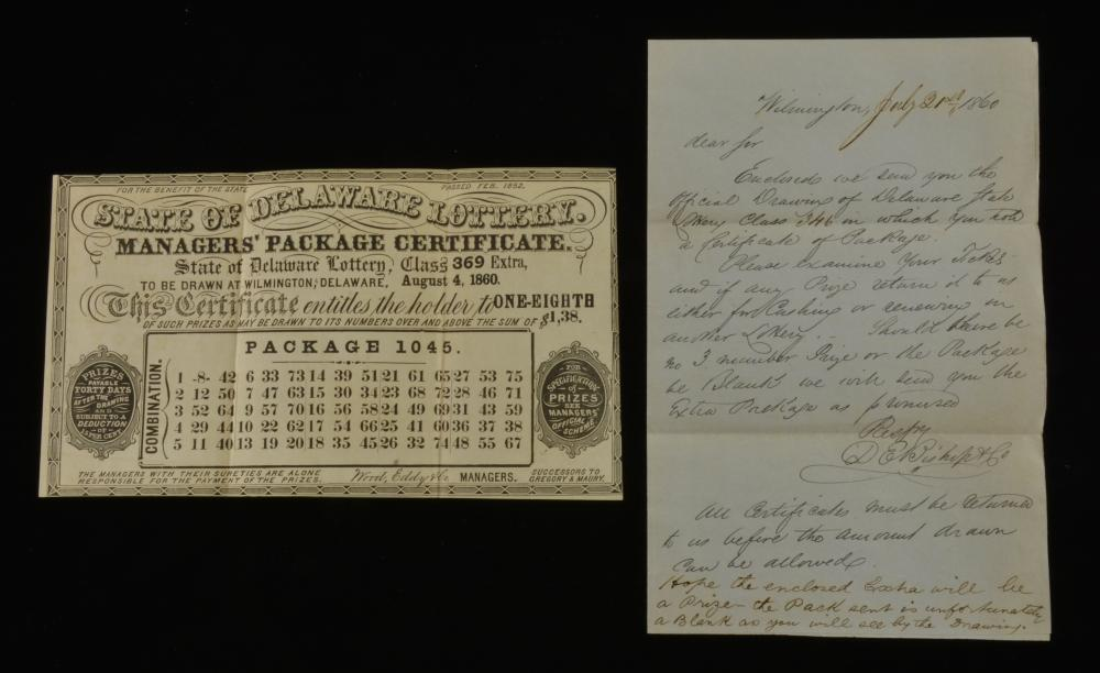State Of Delaware Lottery 1860 Managers Package Certificate