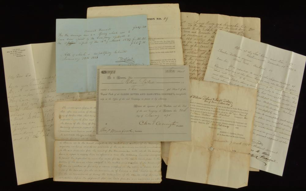 James River And Kanawha Company Stock Certificate Letter Collection