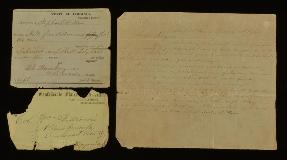 State Of Virginia Civil War Receipt And Letter Group Lot