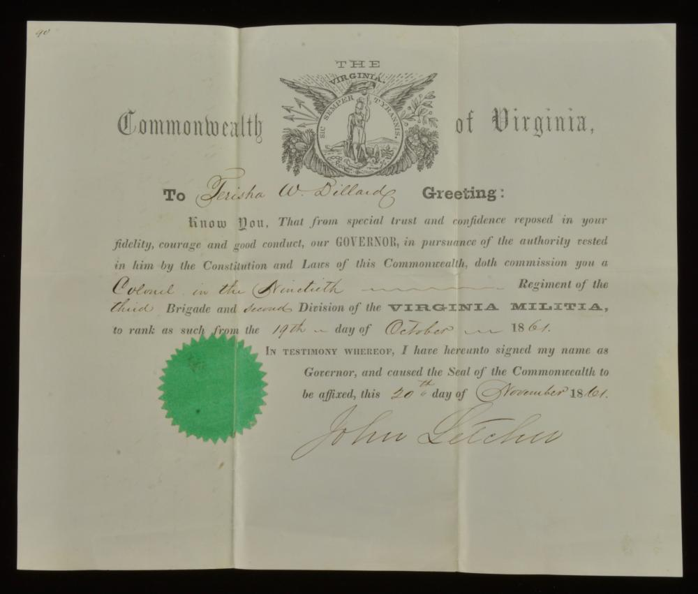 Terisha W. Dillard Virginia Confederate Commission Colonel 1861