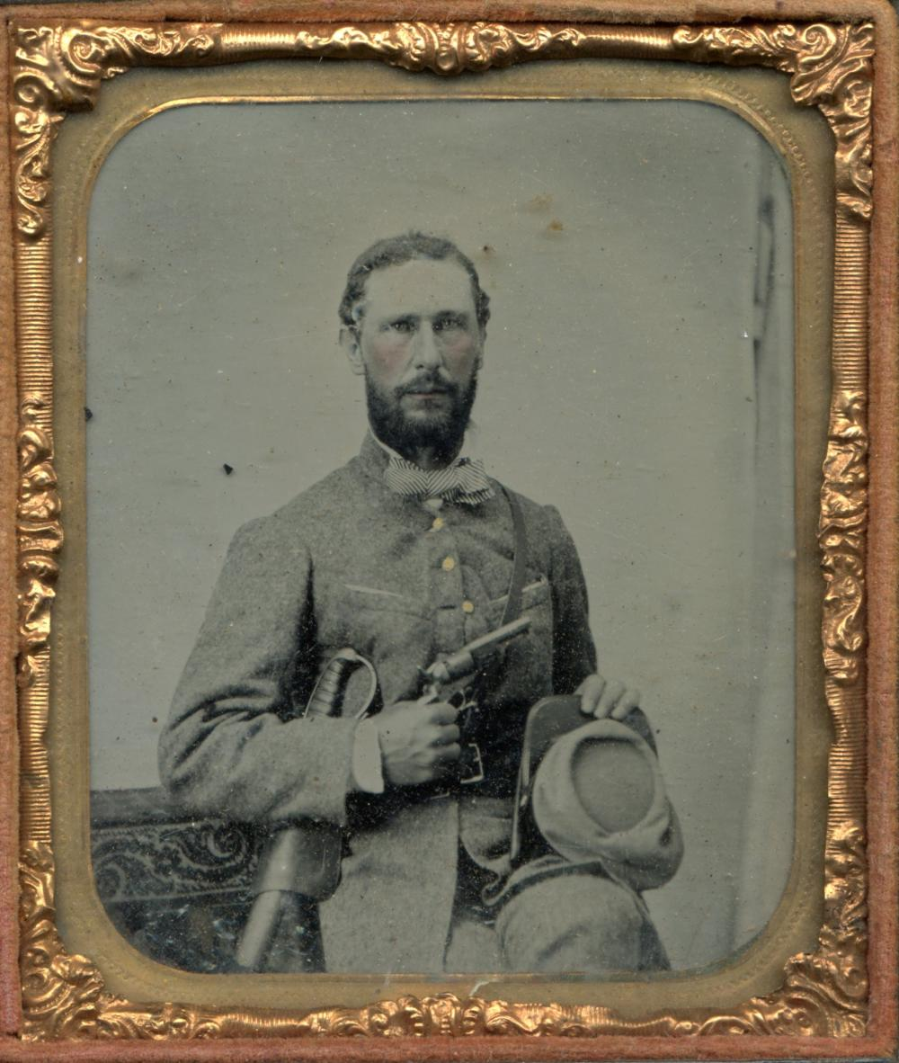 William W. Larkin C.S.A. Virginia Civil War Ambrotype Armed In Uniform