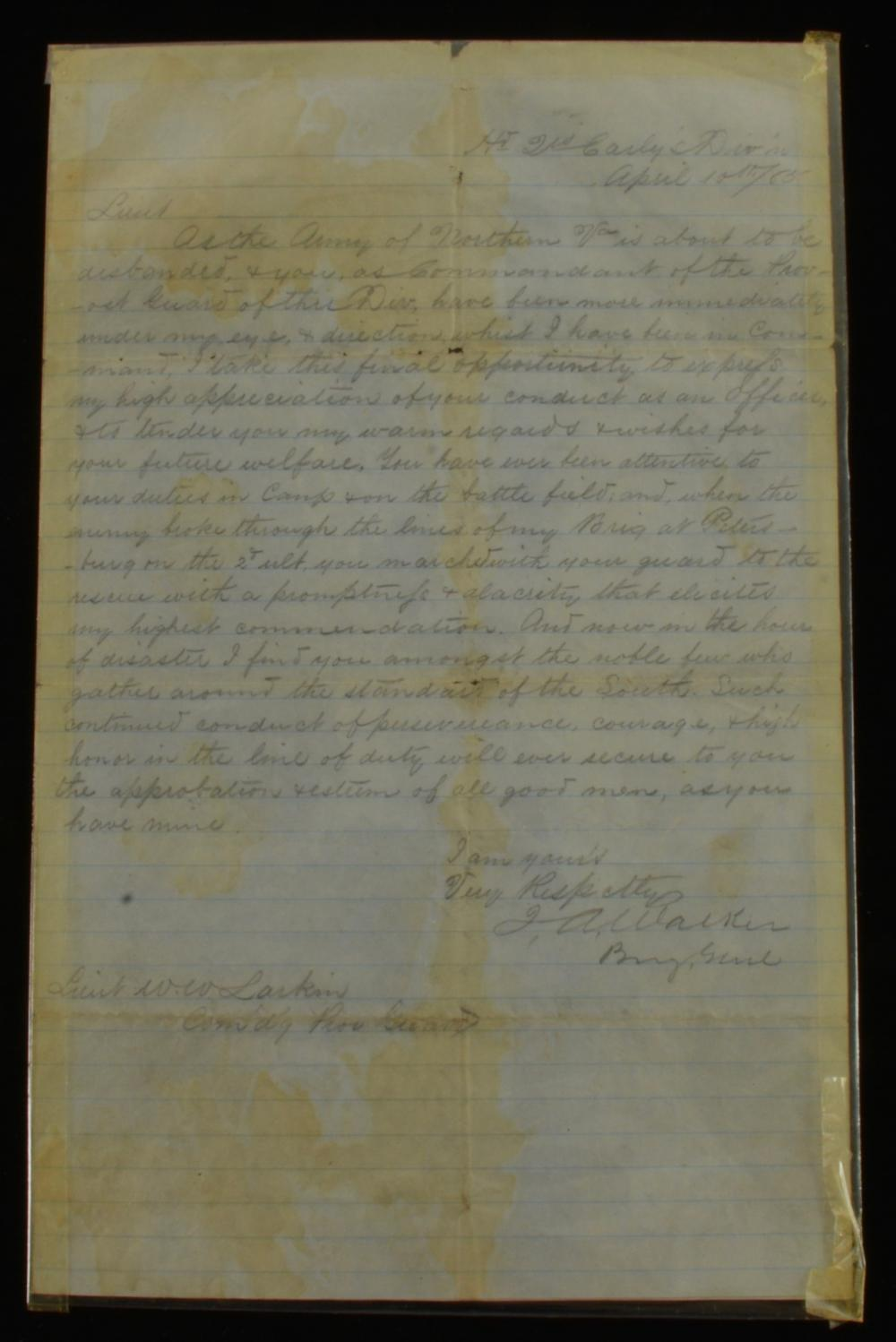 Brigadier General James Alexander Walker Civil War Appomattox Letter
