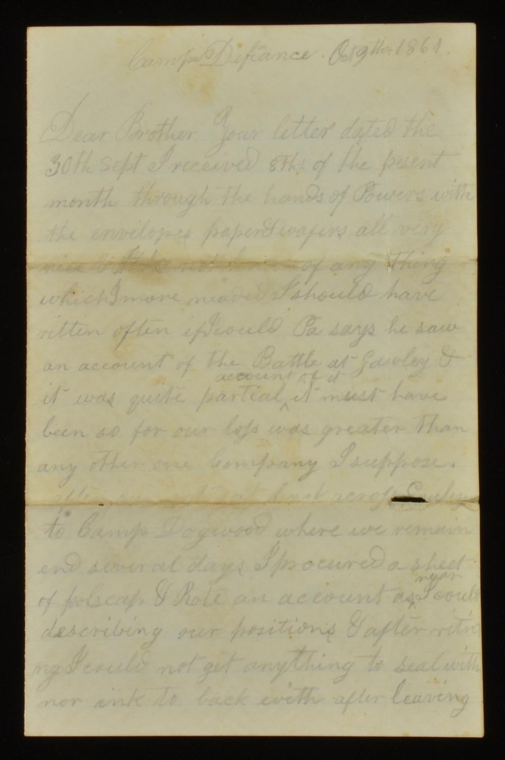 Samuel T. Dillard Civil War 1861 Camp Defiance Letter