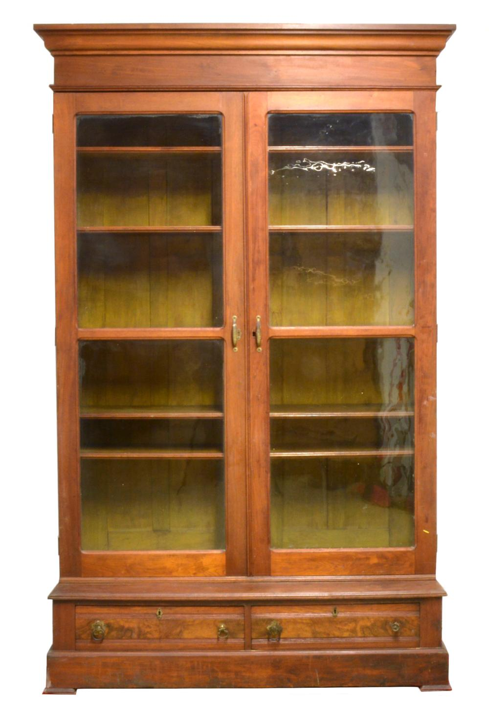 Walnut Victorian Library Bookcase