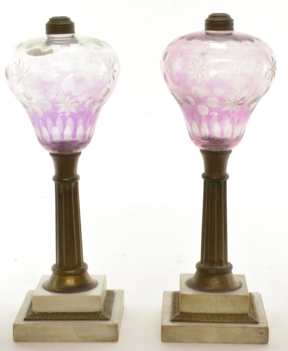 Pair Boston Sandwich Amethyst Overlay Glass Oil Lamps