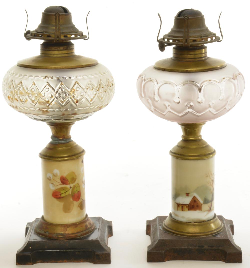 Victorian Composite Snow Scene Oil Lamps
