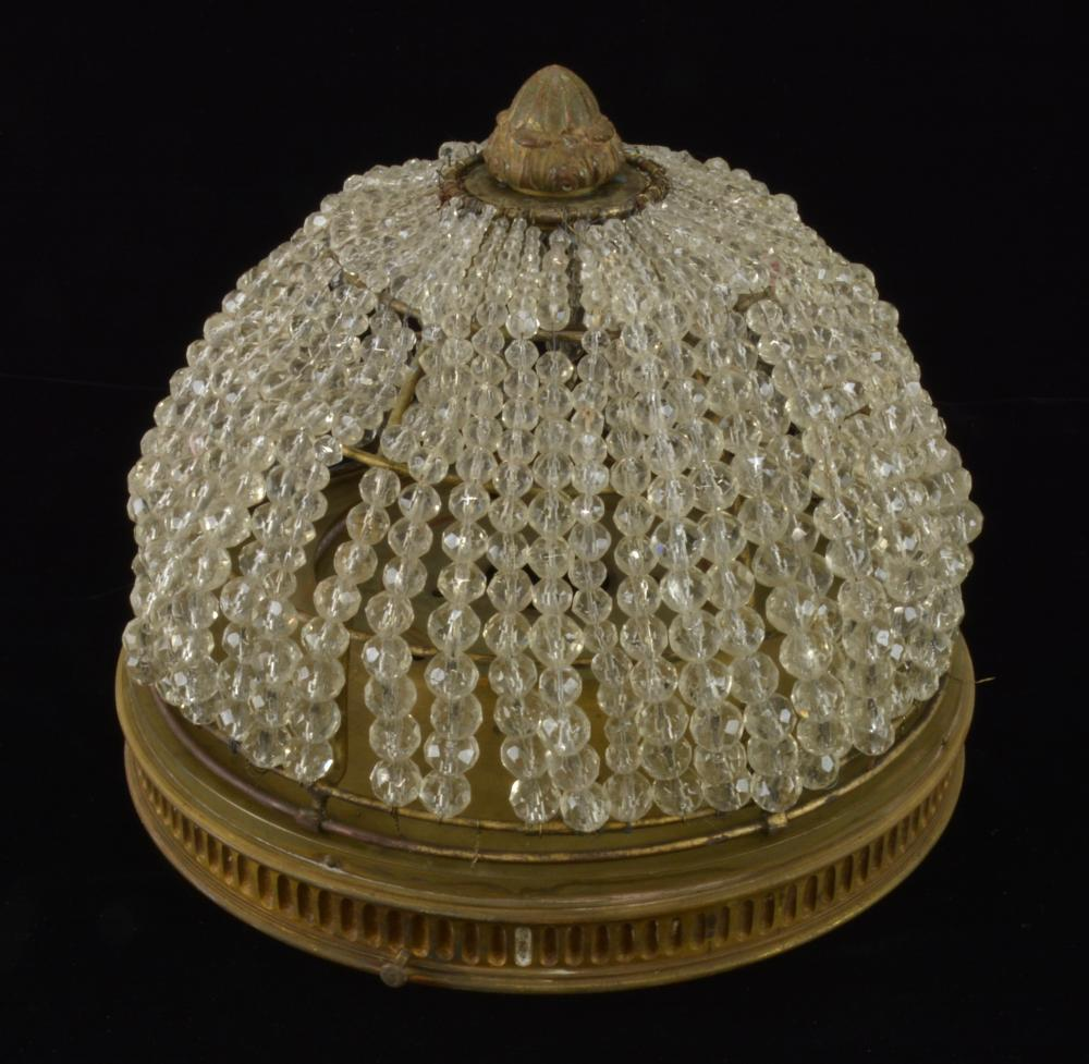Antique Crystal Bead Mushroom Ceiling Light Fixture