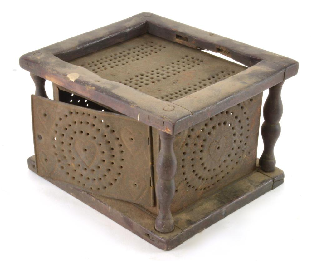 Antique Punched Tin and Wood Foot Warmer