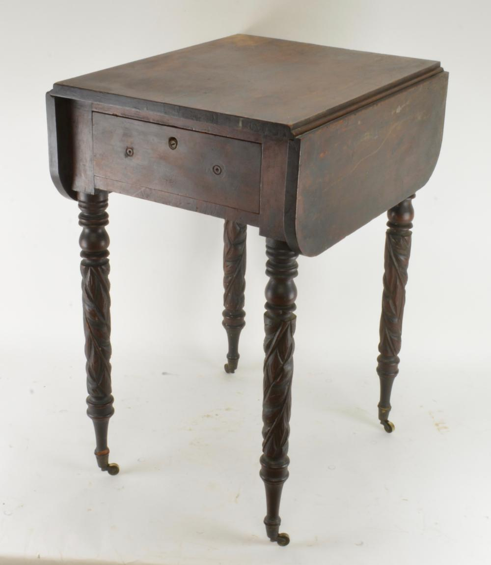 Early Virginia Federal Carved Sewing Table