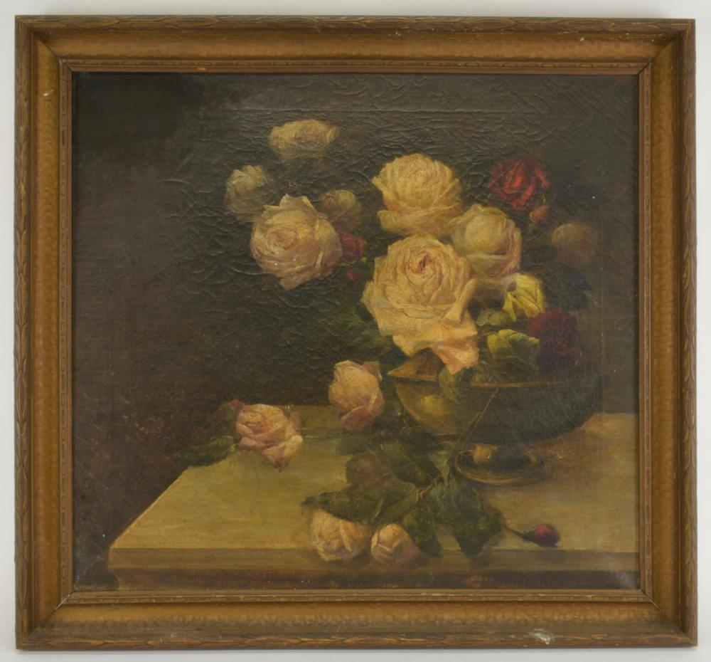 American Victorian Pink Red Roses Oil Painting