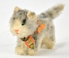 Steiff Tabby Cat Grey Beige 1610.0