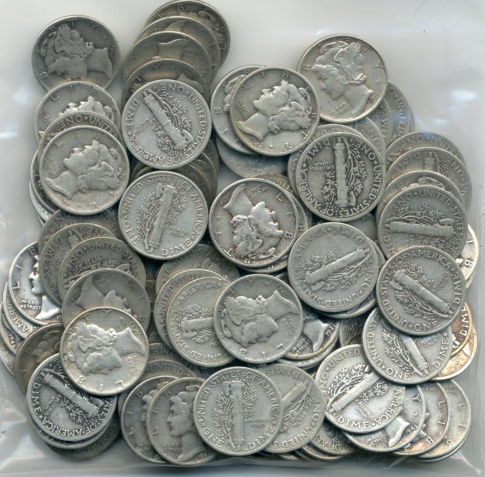 1940/'s dates 90/% Silver Mercury Dimes Mercury Dimes Lot of 10