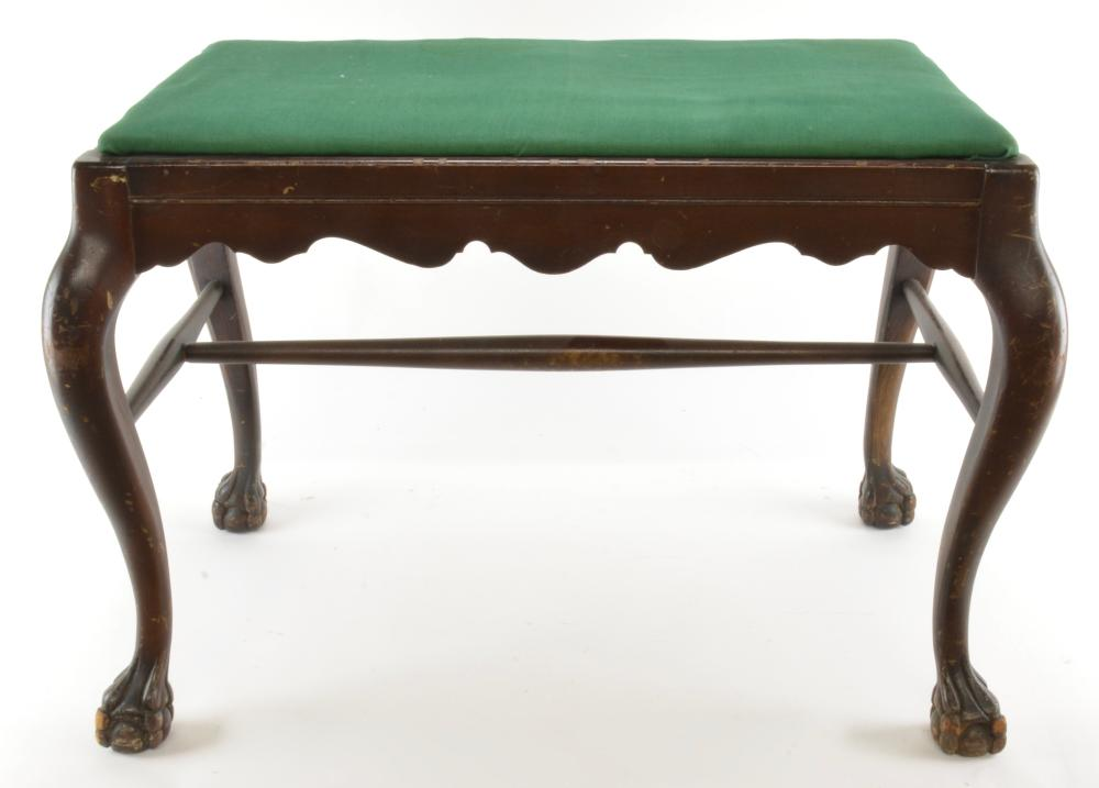 Mahogany Claw Foot Dressing Bench