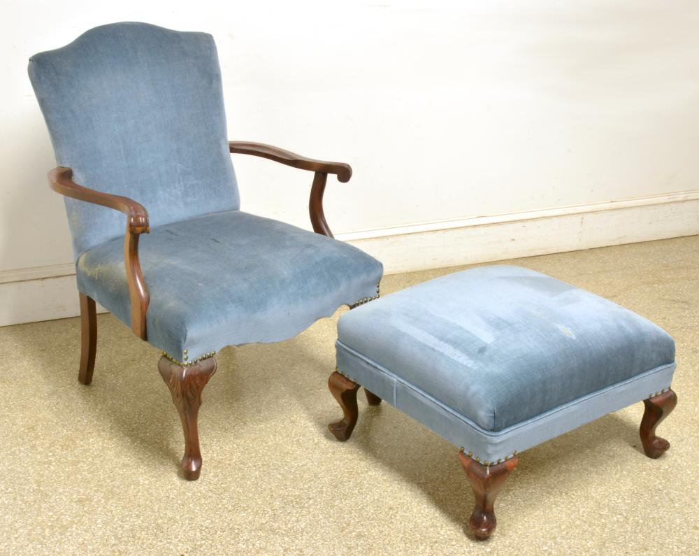 Formal Queen Anne Style Chair And Ottoman