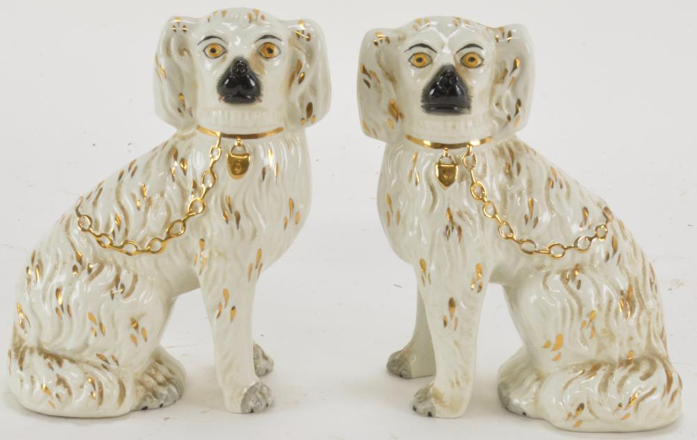 Pair Antique English Staffordshire Dogs