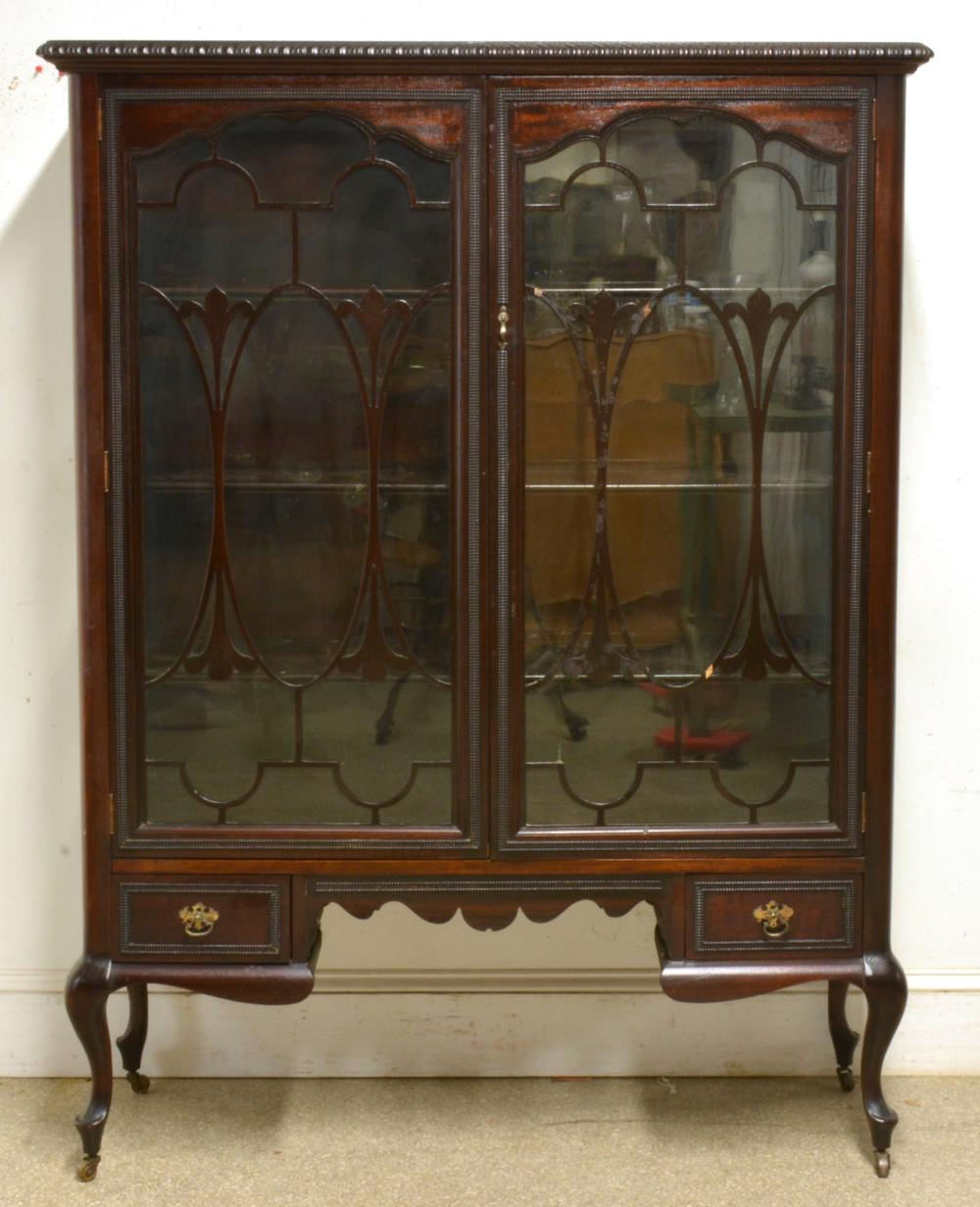 Fine Mahogany Queen Anne Style China Closet