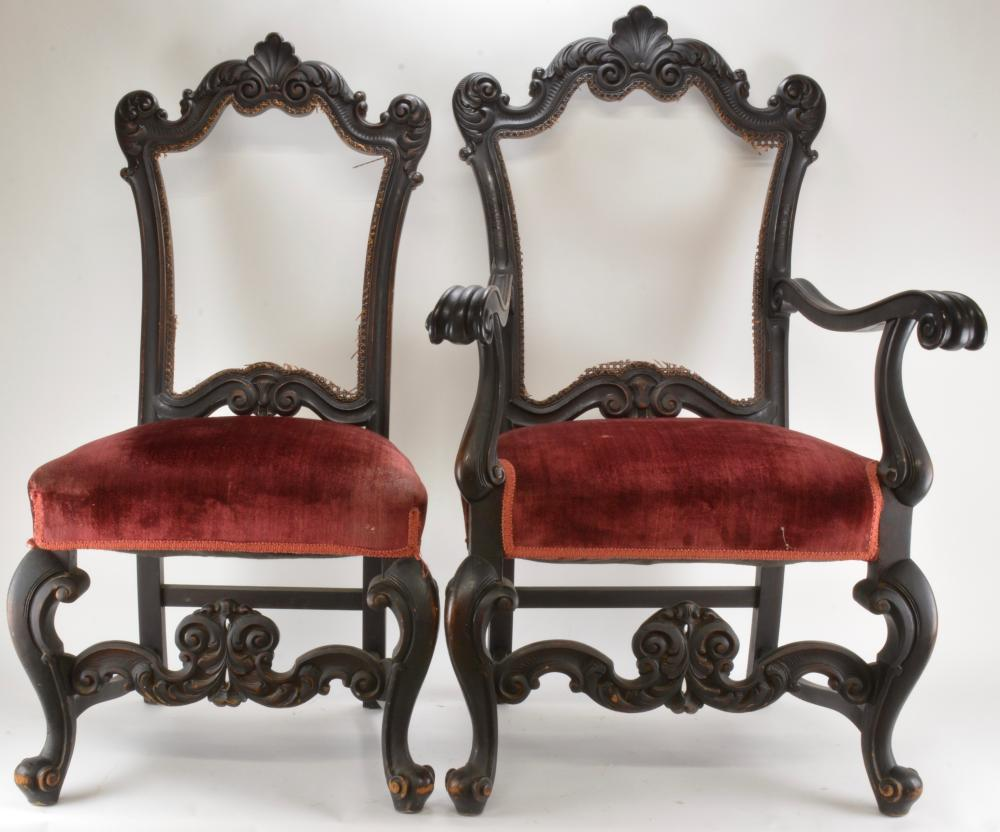 French Carved Rococo His And Hers Chairs